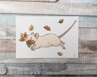 Autumn Rat Art Print - Cute Pet Rat Wall Art - Fall Leaves Animal Art Print - A5 And 6 x 4 Inch Sizes - Fun Fancy Rat Gift