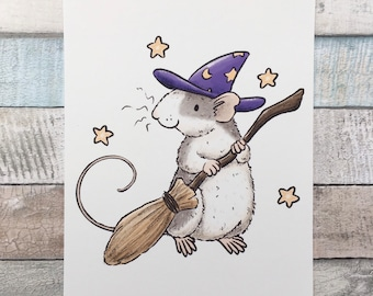 Willow The Witch Rat Art Print - A5 and 6 x 4 Inch Sizes - Cute Pet Rat Wall Art - Fancy Rat Gift