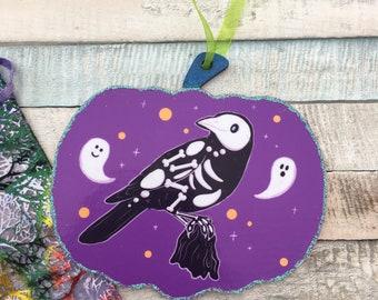 Trick The Crow Spooky Gang Pumpkin Halloween Decoration - Handmade Pumpkin Halloween Ornament - Cute Spooky Crow Art
