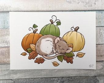 Pumpkin Ratty Art Print - A5 And 6 x 4 Sizes - Cute Pet Rat Art Print - Fancy Rat Wall Art Gift