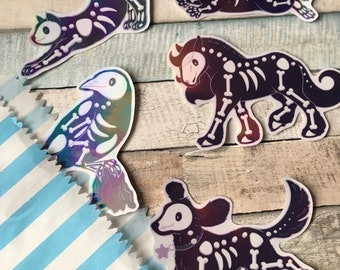 Holographic Spooky Gang Stickers - Halloween Animal Stickers - Cute Skeleton Animal Stickers