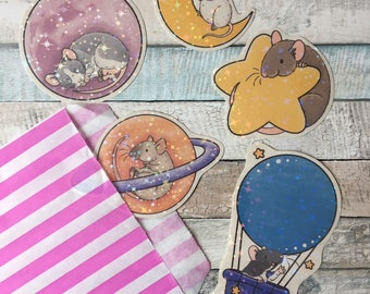 Holographic Space Rat Stickers - Cute Fancy Rat Handmade Stickers For Rat Lovers
