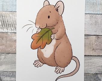 Leaf Rat Art Print - A5 and 6 x 4 Inch Sizes - Cute Pet Rat Wall Art - Fancy Rat Gift