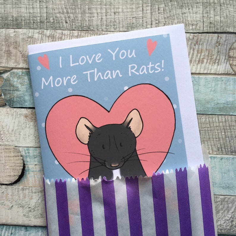 i love you more than rats funny a6 greeting card rat lover