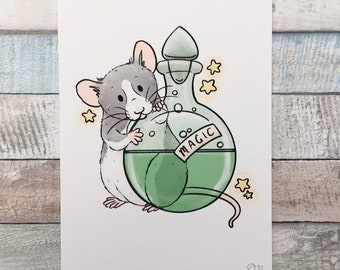 Sparky The Potions Rat Art Print - Fun Pet Rat Wall Art - A5 and 6 x 4 Inch Sizes - Great Fancy Rat Gift
