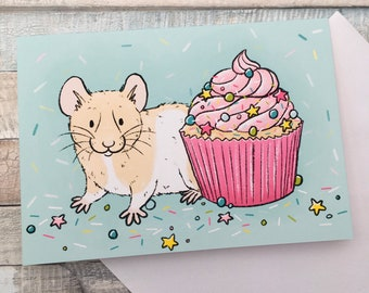 Hamster Cupcake Celebration Greeting Card - A6 Size Greeting Card With White Envelope - Cute Hamster Birthday Card