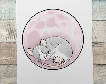 Rose Moon Space Rat Art Print - A5 and 6 x 4 Sizes - Pet Rat Wall Art - Fancy Rat Gift