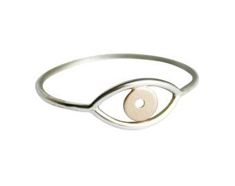 Silver and Gold Evil Eye, Evil Eye Ring, Third Eye Ring, Thin Silver & Gold Ring, Delicate Ring, Simple Ring, Eye Ring, Mixed Metal Ring