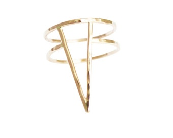 Gold Large Spike Ring, Spike Ring, Gold Statement Ring, Triangle Shape Ring, Gold Fill Ring, Bondage Ring, Thin Gold Ring, Rose Gold Ring