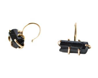 Gold Black Tourmaline Hoops, Tourmaline Earrings, Raw Stone Earrings, Raw Gemstone Earrings, Small Gold Hoops, Tiny Hoop Earrings