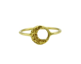 14k Little Moon Ring, Crescent Moon Ring, Gold Circle Ring, Gold Celestial Ring, Pinky Ring, Gold Moon Ring, Thin Gold Ring