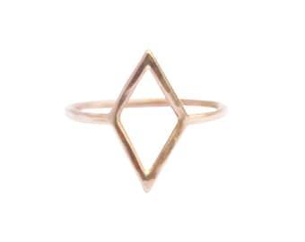 Thin Gold Diamond Shape Ring, Thin Gold Ring, Simple Gold Ring, Geometric Shape Ring, Pinky Ring, Midi Ring, Minimal Gold Ring, Dainty Ring