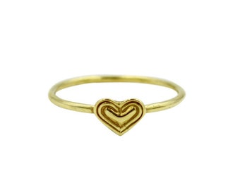 14k Little Heart Ring, Tiny Gold Heart Ring, Simple Gold Heart Ring, Solid Gold Heart Ring, Thin Gold Ring, Minimalist Ring, Pinky Ring