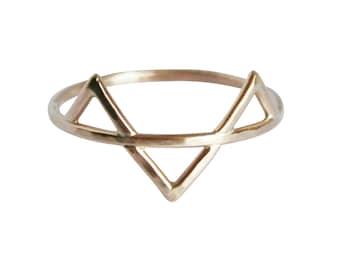 Geometric Ring, Three Gold Spikes Ring, Thin Gold Ring, Triangles Ring, Solid 14K Gold Ring, Gold Fill Ring, Three Gold Spikes Ring, Midi