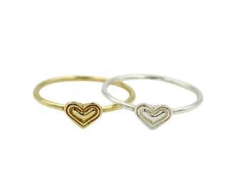 Little Heart Ring, Heart Ring, Simple Heart Ring, Stackable Heart Ring, Silver Heart Ring, Thin Stacking Ring, Minimalist Ring, Pinky Ring