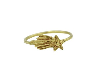 14k Shooting Star Ring, Star Ring, Simple Star Ring, Comet Ring, Space Ring, Stellar Ring, Stardust Ring, Simple Thin Ring, Stacking Ring