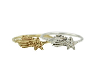 Shooting Star Ring, Star Ring, Simple Star Ring, Comet Ring, Outerspace Ring, Stellar Ring, Stardust Ring, Simple Thin Ring, Stacking Ring