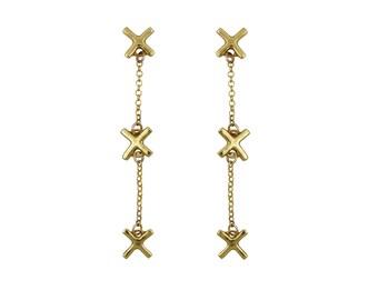 X Dangle Earrings, X Earrings, Chain Earrings, Light Earrings, Geometric Earrings, Minimalist Earrings
