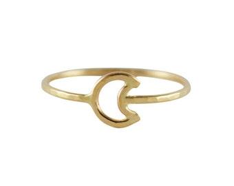 Gold Moon Ring, Thin Gold Ring, Crescent Moon Ring, Solid 14K Gold Ring, Dainty Gold Ring, Simple Gold Ring, Gold Midi Ring, Pinky Ring