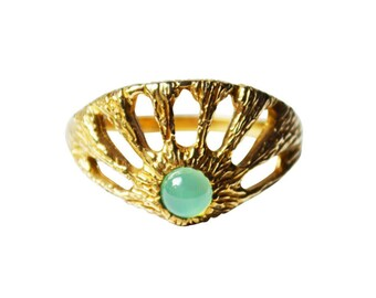 Window Ring with Chrysoprase, Green Gemstone Ring, Intricate Ring, Gemstone Ring, Rings with Stones, Chrysoprase Ring, Statement Ring