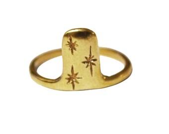 Night Ring, Stars Ring, Simple Ring, Nature Ring, Thin Star Ring, Thin Sterling Silver Ring, Thin Gold Ring, Starry Sky Ring, Minimal Ring