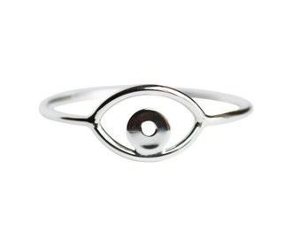 Silver Evil Eye Ring, Eye Ring, Silver Third Eye Ring, Thin Silver Ring, Simple Silver Ring, Evil Eye Jewelry, Minimalist Ring, Delicate