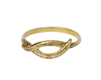 Woven Palm Ring, Palm Leaf Ring, Nature Inspired Ring, Knot Ring, Feather Ring, Leaf Ring, Palm Tree Ring, Thin Gold Ring, Gift for her