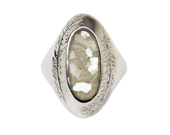 Paradise Ring with Mother of Pearl, Mother of Pearl Ring, Chunky Ring, Nature Inspired Ring, Statement Ring, Palm Ring, Inlay Ring, Big Ring