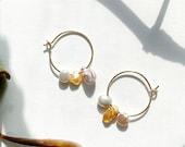 Pearl Hoop Earrings #2, Keshi Pearl Earrings, Gold Pearl Earrings, Simple Pearl Earrings, Gift for Mom, Gift for her