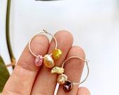 Rainbow Pearl Hoop Earrings #7, Pearl Earrings, Rainbow Earrings, Silver Pearl Hoop Earrings, Keshi Pearl Earrings, OOAK Earrings