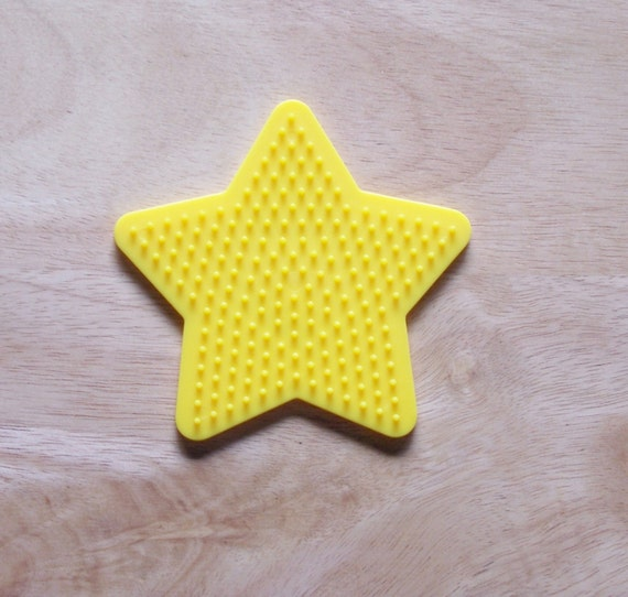 Perler Bead Yellow Star Pegboard1 Ironing Paper Etsy