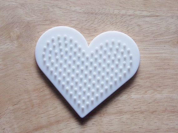 Perler Bead White Heart Pegboard Ironing Paper Instructions Etsy