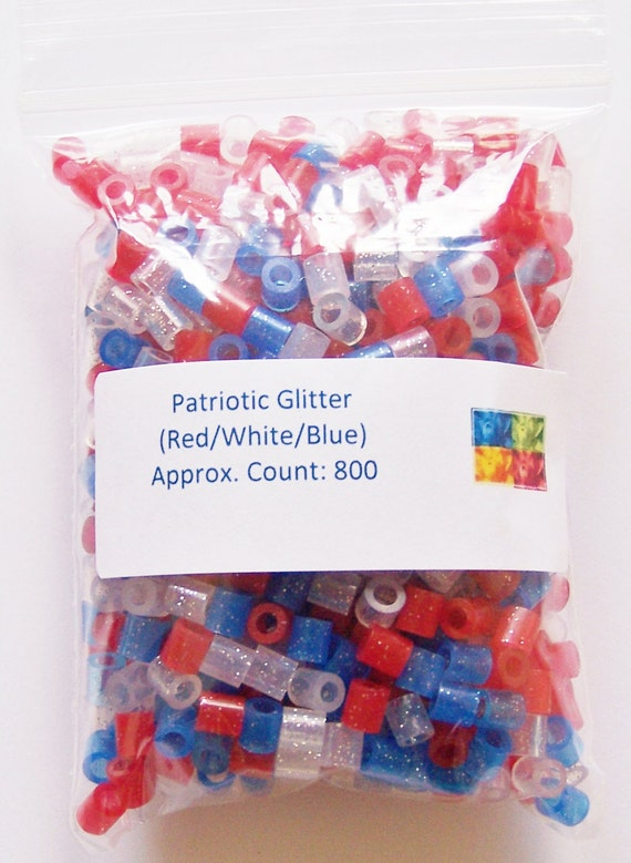 Perler Beads 800 Patriotic Glitter Perler Beads Ironing Etsy