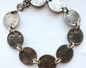 Buffalo Nickel Chain Bracelet Mens, Womens, All Sizes, Brass or Sterling Silver Links Made in USA