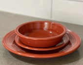 P86 Fiestaware Paprika Dinner Plate Medium Bowl Salad Plate Orange Red
