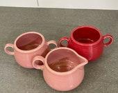 P86 Fiestaware Sugar Bowls Creamer Scarlet and Rose