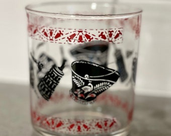 Vintage Hazel Atlas Red/Black Colonial Design Glass