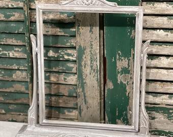 Grey & White Rectangle Standing Frame Cottage Farmhouse Boho Bohemian