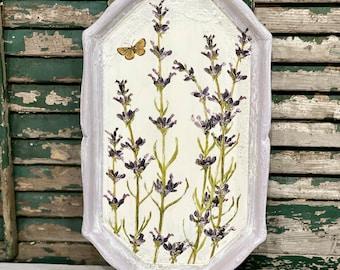 Cottage Lavender Wall Decor Purple White
