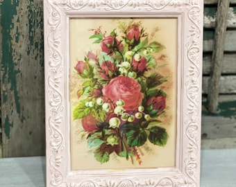 Pink and Gold Frame with Pink Floral Picture 5 & 7