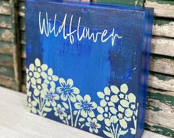 Boho Wildflower Wall Decor Bohemian Blue