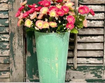 Green Metal Wall Pocket with Pink Flowers