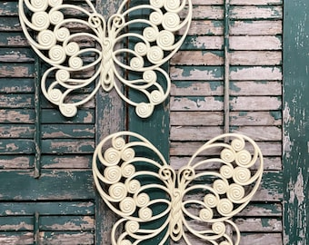 Vintage Cottage Cream Butterfly Hanging Wall Decor White Ivory