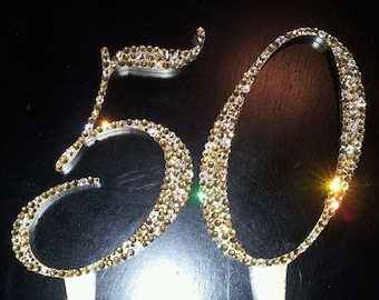 Gorgeous Swarovski Crystal Birthday Cake Toppers 4 In Any NUMBER Custom Topper Bling Rhinestone Anniversary