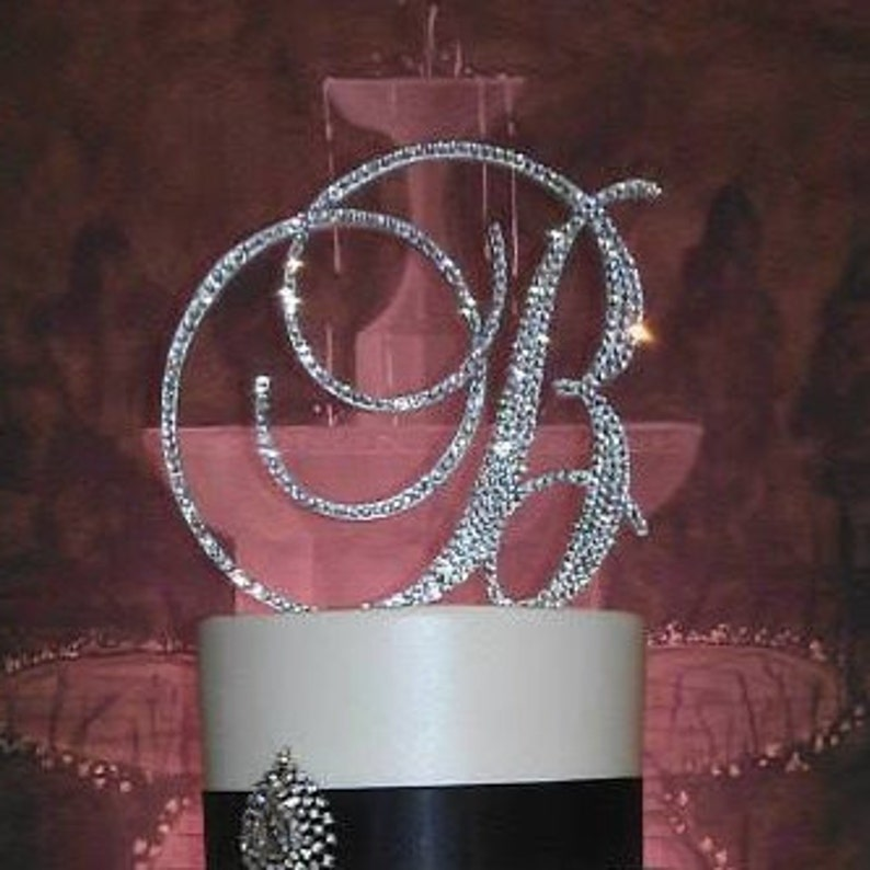 Gorgeous Swarovski Crystal Wedding Cake toppers 4'' in image 0