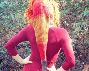 Bonfire Art Yarn Elf Hood / Extra Long Pixie Hood / Fire Element Costume or Festival Hood