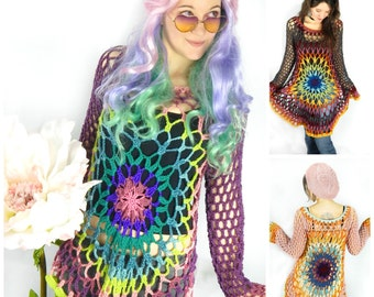 "Crochet PATTERN: ""Flower Child"" Pullover / Floral Mandala Sweater Dress / Hippie Retro Boho Festival Wear - Instant Download PDF File"