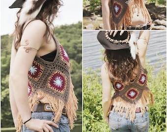 Crochet PATTERN: Blossom Vest / Retro Crochet Granny Square Vest / Hippie Boho Fringe Vest in 4 sizes / Instant Download PDF File
