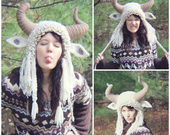 Crochet PATTERN: Krampus Hat / Ram Hat / Goat Hat / Wild Thing Hat / Yeti Hat / Fuzzy Crazy Earflap Hat with Horns Costume Crochet Pattern