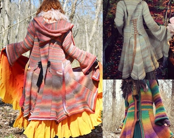 Crochet PATTERN: Elf Coat Plus Sizes Tunisian Crochet / Fantasy Magical Cosplay Renaissance Hooded Pixie Coat / Plus Size Sweater Pattern